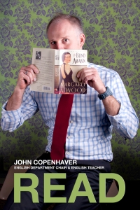Photo classes at Flint Hill create posters of teachers with their favorite books.  This image was created by Afshan Bhatia.
